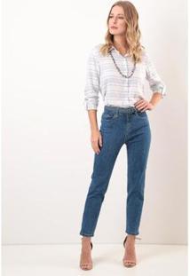 Calça Slim Cropped Cintura Comfort Ervadoce Feminina - Feminino-Azul