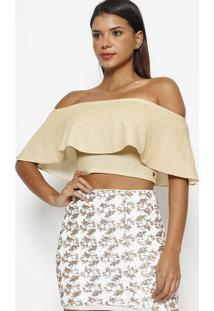 Blusa Tomara Que Caia Cropped Texturizado- Dourada- Murau
