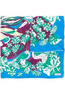 Emilio Pucci Echarpe Com Estampa Floral - Azul