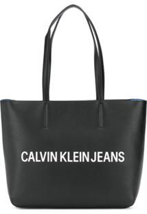 Calvin Klein Contrast Logo Tote - Preto