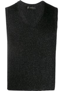 Versace Regata Canelada Com Brilho - Preto