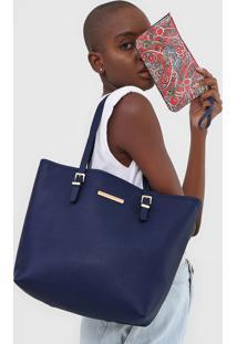 Bolsa Sacola Jorge Bischoff Com Necessaire Azul - Kanui