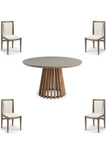 Conjunto Mesa Tampo Off White + Cadeiras Brisa Encosto Estofado - 60480 - Sun House