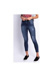Calça Jeans Cropped Lavagem Escura Estonada Feminina Jeans
