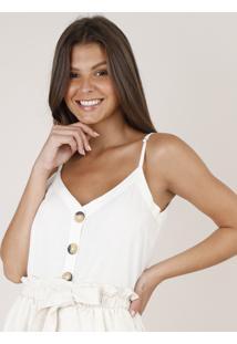 Regata Feminina Com Botões E Linho Alça Fina Decote V Off White