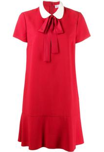 Red Valentino Vestido Mini Com Amarração Na Gola - Vermelho