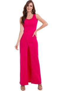 Vestido Manola Longo Fenda Pink