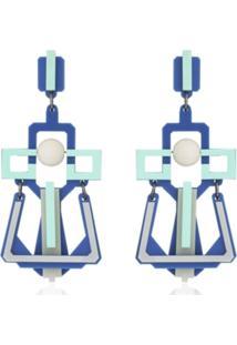 Brinco Le Diamond Geométrico Turquesa Azul