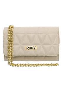 Bolsa Clutch Ravy Store Pequena Metalassê Off White