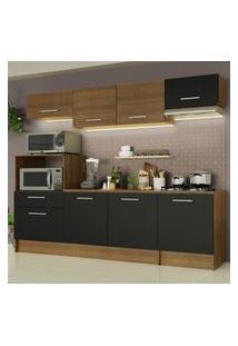Cozinha Completa Madesa Onix 240002 Com Armário E Balcáo - Rustic/Preto 5Zd8 Marrom