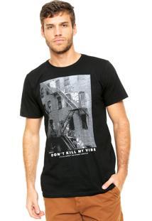 Camiseta Fiveblu Manga Curta Dont Kill My Vibe Preta