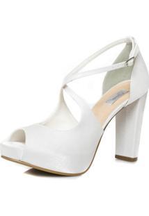 Sandália Noiva Salto Alto Confortável - 86096 Branco - Tricae