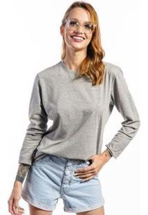 Camiseta Manga Longa Basic Feminina - Feminino-Cinza