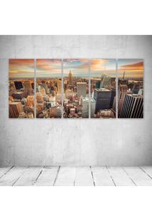 Quadro Decorativo - Houses Usa Megapolis New York City - Composto De 5 Quadros - Multicolorido - Dafiti