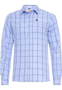 Camisa Masculina Xadrez Linho - Azul