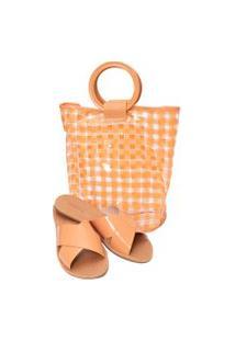 Kit 2 Em 1 - Sandália Feminina Flat & Bolsa Tote Bag - Laranja