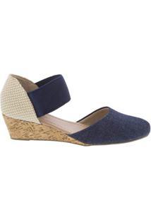 Sandália Penélope Anabela Jeans Azul