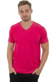Camiseta Olimpo Camisaria Meia Malha Decote V Manga Curta Pink