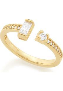 Anel Rommanel Skinny Ring Composto Por Zircônias - Feminino-Dourado