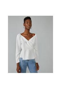 Amaro Feminino Blusa Transpassada Ombro Elástico, Branco