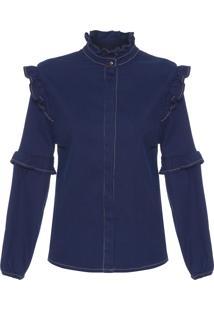 Camisa Feminina Jeans Corduroy - Azul