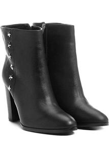 Bota Couro Shoestock Cano Médio Estrelas Feminina - Feminino-Preto