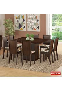 Mesa De Jantar 8 Lugares Clarice Tabaco/Hibiscos - Madesa Móveis