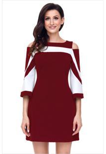 Vestido Curto Recorte Manga Longa - Vinho M