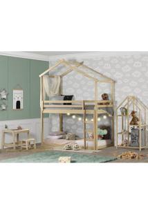 Quarto Infantil Beliche Montessoriano Prime Telhado, Xale, Estante E Escrivaninha - Casatema