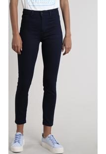 Calça Jeans Feminina Cigarrete Cintura Média Azul Escuro