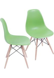 Jogo De Cadeiras Eames Dkr- Verde & Bege- 2Pã§S- Or Design