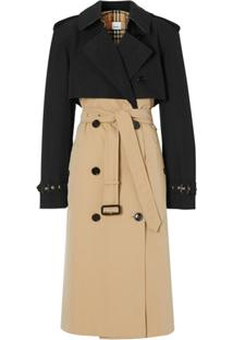 Burberry Trench Coat Reconstruído Bicolor - Preto
