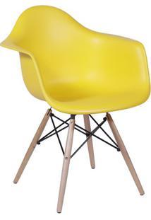 Poltrona Eames Com Braã§Os- Amarela & Bege- 82X62X44Cor Design