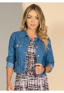 Jaqueta Azul Jeans Com Detalhes De Tachas