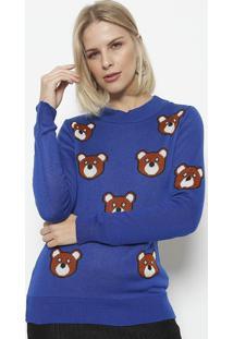 Blusa Em Tricot Ursos- Azul Marinho & Marrom- Ponto Ponto Aguiar