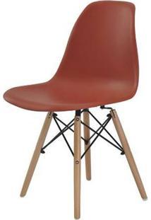 Cadeira Eames Eiffel Polipropileno Laranja Base Madeira 81Cm - 62957 - Sun House