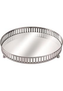 Bandeja De Metal Prata Com Espelho Onix 5658 Mart