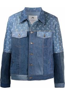 Marine Serre Jaqueta Jeans Com Estampa De Lua - Azul