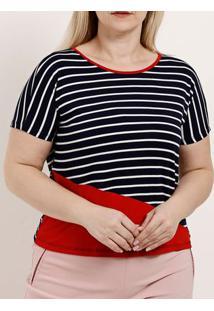 Blusa Manga Curta Plus Size Feminina Azul Marinho/Vermelho
