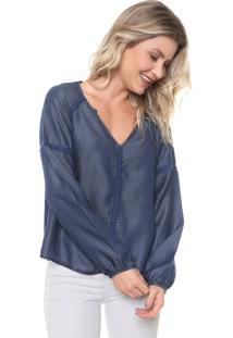 Blusa Jeans Cativa Bordados Azul