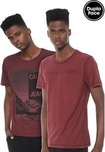 Camiseta Calvin Klein Jeans Dupla Face Vinho