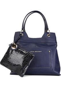 98b53c87e ... Bolsa Couro Jorge Bischoff Tote Croco Feminina - Feminino-Azul+Preto