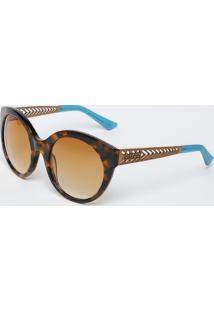 Óculos De Sol Arredondado - Marrom & Bege - Colccicolcci
