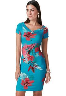 Vestido Azul Claro Tubinho Floral