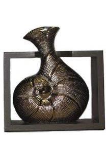 Vaso Decorativo Cerâmica Suporte Madeira Creta Cor Bronze