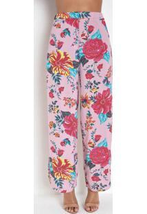 Calça Pantalona Com Fenda Na Barra Floral Rosa