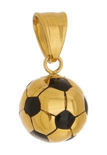 Pingente Bola De Aço Inox Tudo Joias Modelo Dourada - Unissex-Dourado