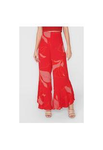 Calça Cantão Pantalona Olímpia Vermelha