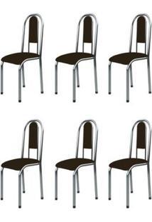 Kit 6 Cadeiras Anatômicas 0.122 Estofada Cromado/Tabaco - Marcheli
