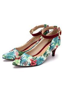 Sapato Feminino Scarpin Com Laço Salto Baixo Fino Em Tecido Floral Lançamento